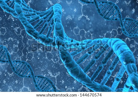 3d DNA structure with formulas - stock photo