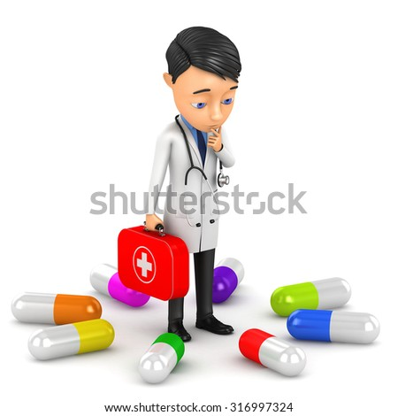 3d doctor and a lot of pills on a white background - stock photo