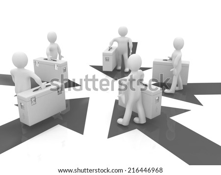 3d doctor and arrows on a white background - stock photo