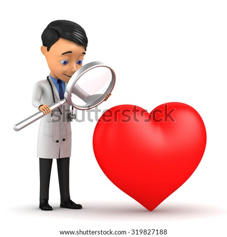 3d doctor examines the heart through a magnifying glass - stock photo