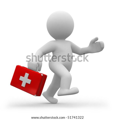 3d doctor running with a suitcase in hands - stock photo
