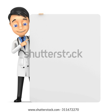 3D doctor with a banner;   isolated over a white background - stock photo