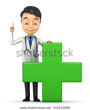 3d doctor with a green cross on a white background - stock photo