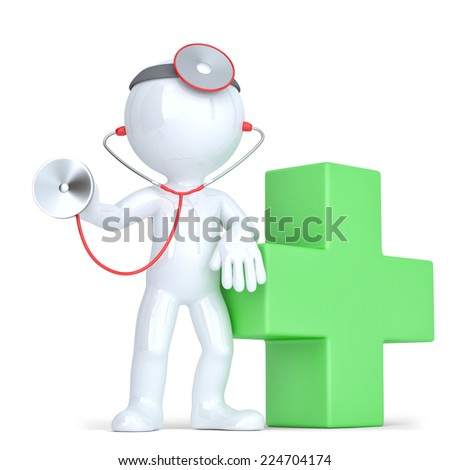 3d Doctor with a stethoscope in hands. Isolated. Contains clipping path - stock photo