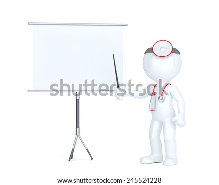 3d doctor with white board. Presentation concept. Isolated. Contains clipping path of board and entire scene - stock photo