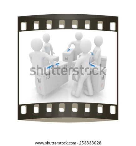 3d doctors on a white background. The film strip - stock photo