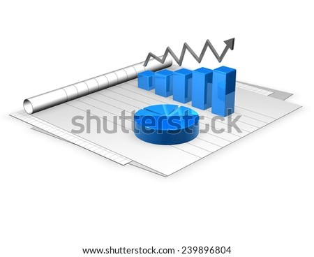 3d documents and graphs, analyzing economy and business concept. - stock photo