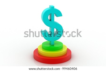 3D dollar in white background .dollar concept