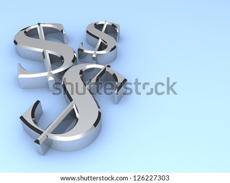 3d dollar sign on a blue background. Dollar concept with silver dollar symbols. Business concept. Illustration.