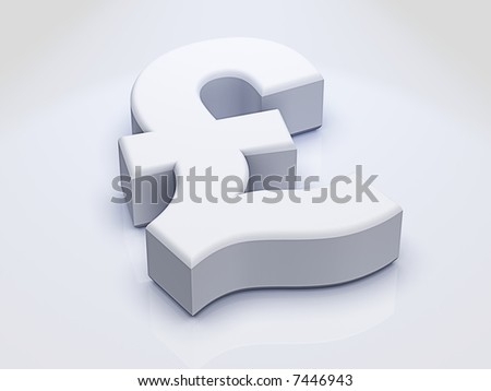 3D Dollar Sign sitting on slightly Reflective White surface