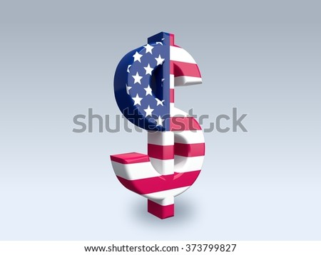 3D dollar sign (USD) isolated on white background. The icon is covered with a flag of United States.