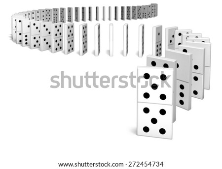 3D. Domino, Strategy, Continuity. - stock photo