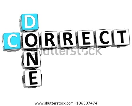 3D Done Correct Crossword on white background