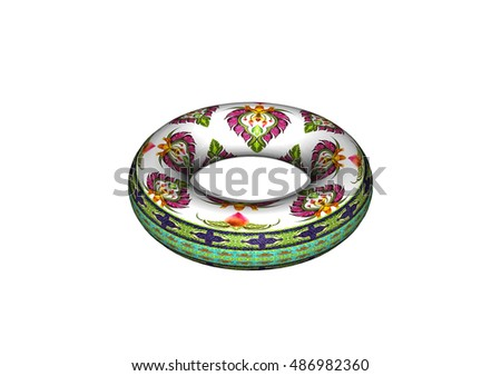 3D donut and pattern of flowers and leaves isolated on white background.
