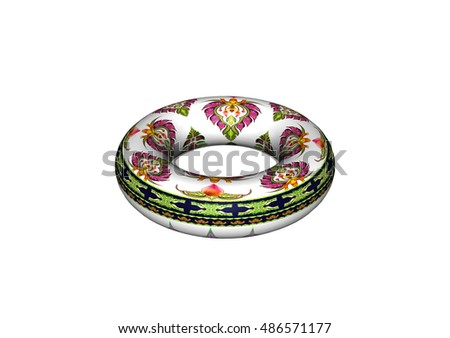 3D donut pattern of flowers and leaves isolated on white background.