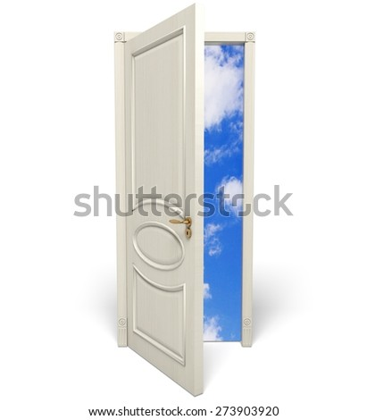 3D. Door, Open, Dreams. - stock photo