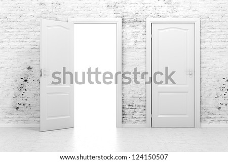3d doors in a white vintage brick wall