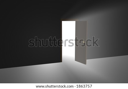 3d Doorway with light streaming through