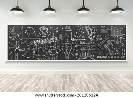 3d drawing business concept on poster in room - stock photo