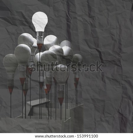 3d drawing idea pencil and light bulb concept outside the box on crumpled paper background - stock photo