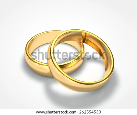3D drawing realistic gold ring set 1