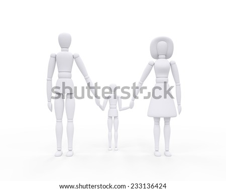 3d dummy parents with children , Clipping path