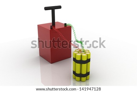 3D dynamite on a white background - stock photo