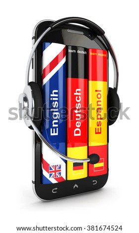 3d e-learning smartphone with headset, isolated white background