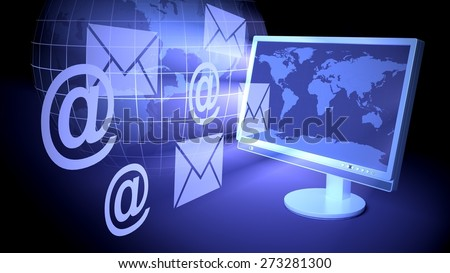 3D. E-Mail, Internet, Technology. - stock photo