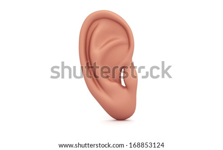 3d ear isolated on white background - stock photo