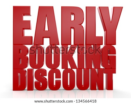 3D Early Booking Discount text on white background - stock photo