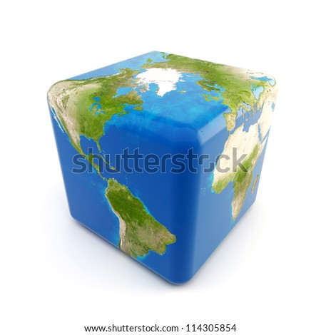 3d Earth as a cube isolated on white background - stock photo