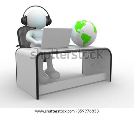 3d Earth globe and a person with headphones and laptop at a office. 3d render