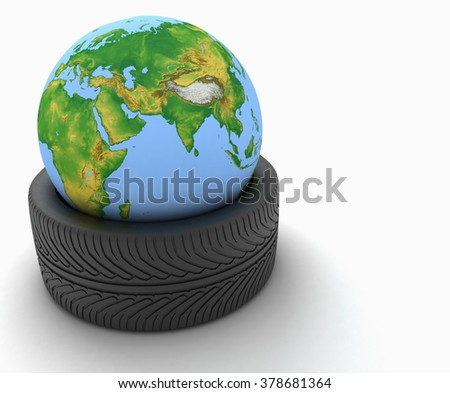 3d earth globe in a car tire on white background