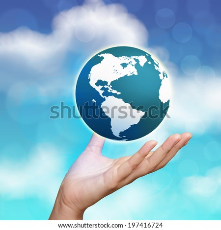 3d earth globe in his hands