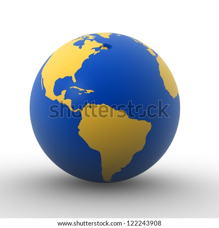 3d Earth globe - South America, North America. 3d render - stock photo