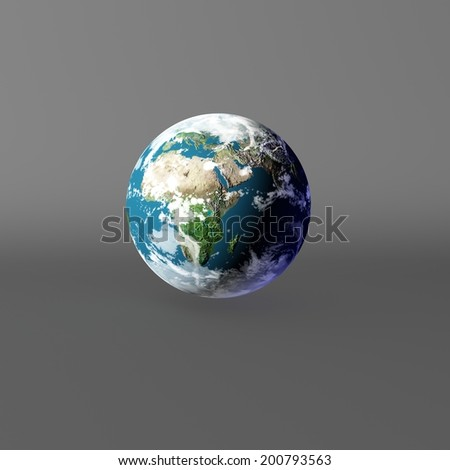 3D Earth model on gray. Elements of this image furnished by NASA.
