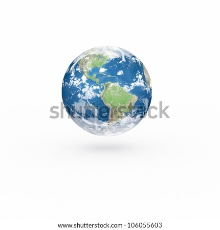 3D Earth model on white background with shadow. Elements of this image furnished by NASA.