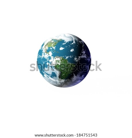 3D Earth model on white. Elements of this image furnished by NASA.