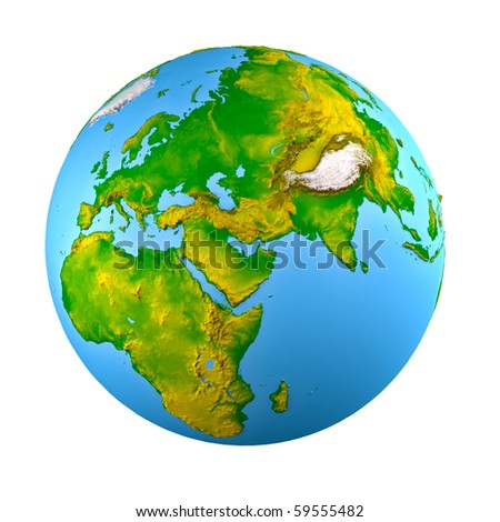 3d earth model with shaded relief