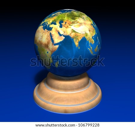 3d earth on a wooden stand on a blue background