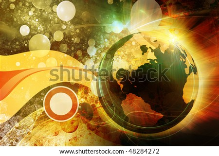 3d earth on grunge background
