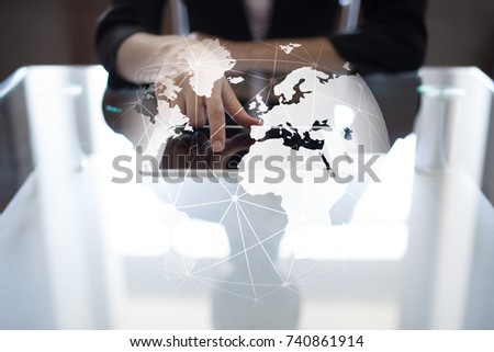 3D Earth on virtual screen. Global business strategy concept. Internet and Communication technology concept.