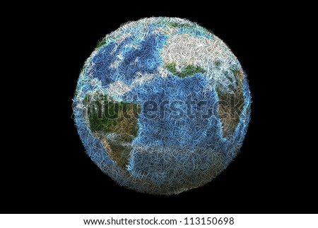 3D earth planet made with shredded paper. - stock photo