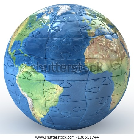 3D Earth puzzle on white background. 3d Elements of this image furnished by NASA.