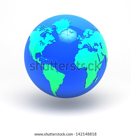 3d earth sphere graphic concept America & Africa , Europe in isolated clipping path include