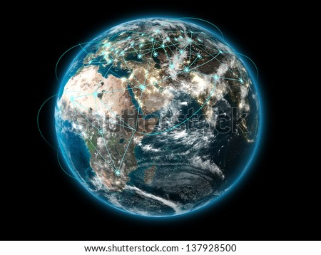 3D Earth with global connections (Collage images from www.nasa.gov) - stock photo