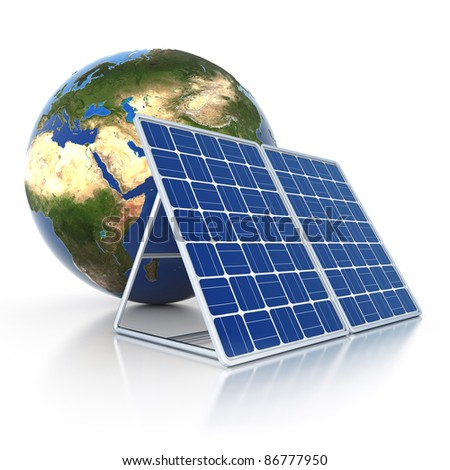 3d earth with solar panel isolated od white background - stock photo