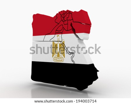 3d Egypt administrative map with flag - stock photo