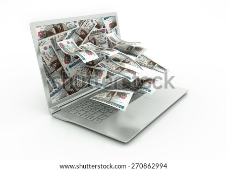 3D Egypt money coming out of Laptop monitor isolated in white background - stock photo